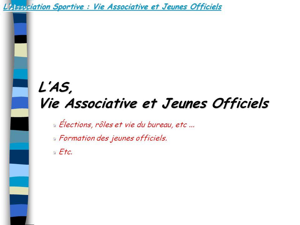 LAssociation Sportive : Vie Associative et Jeunes Officiels LAS, Vie Associative et Jeunes Officiels Élections, rôles et vie du bureau, etc... Formati