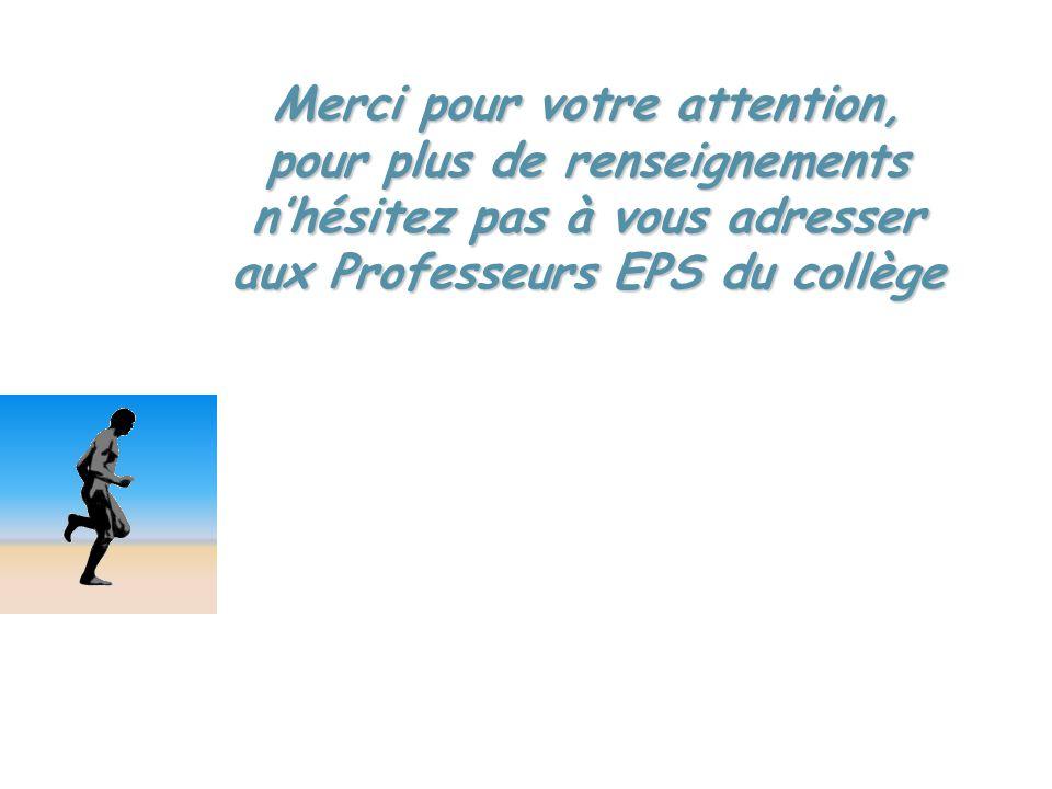 Merci pour votre attention, pour plus de renseignements nhésitez pas à vous adresser aux Professeurs EPS du collège