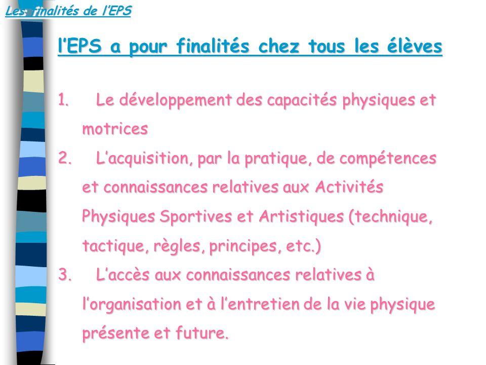 Les finalités de lEPS lEPS a pour finalités chez tous les élèves 1. L e développement des capacités physiques et motrices 2. L acquisition, par la pra