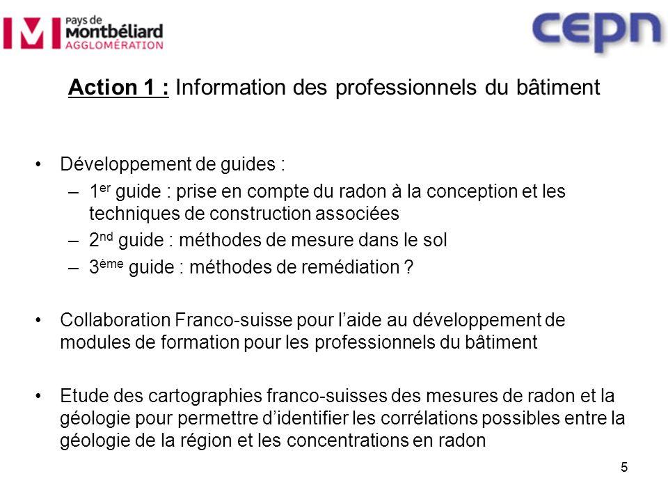Action 2 : Sensibilisation du public Développement de plaquettes de sensibilisation Mise à disposition auprès du public des cartographies franco-suisses des mesures de radon en corrélation avec la géologie 6