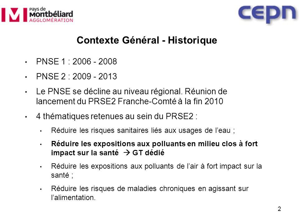 2 PNSE 1 : 2006 - 2008 PNSE 2 : 2009 - 2013 Le PNSE se décline au niveau régional. Réunion de lancement du PRSE2 Franche-Comté à la fin 2010 4 thémati