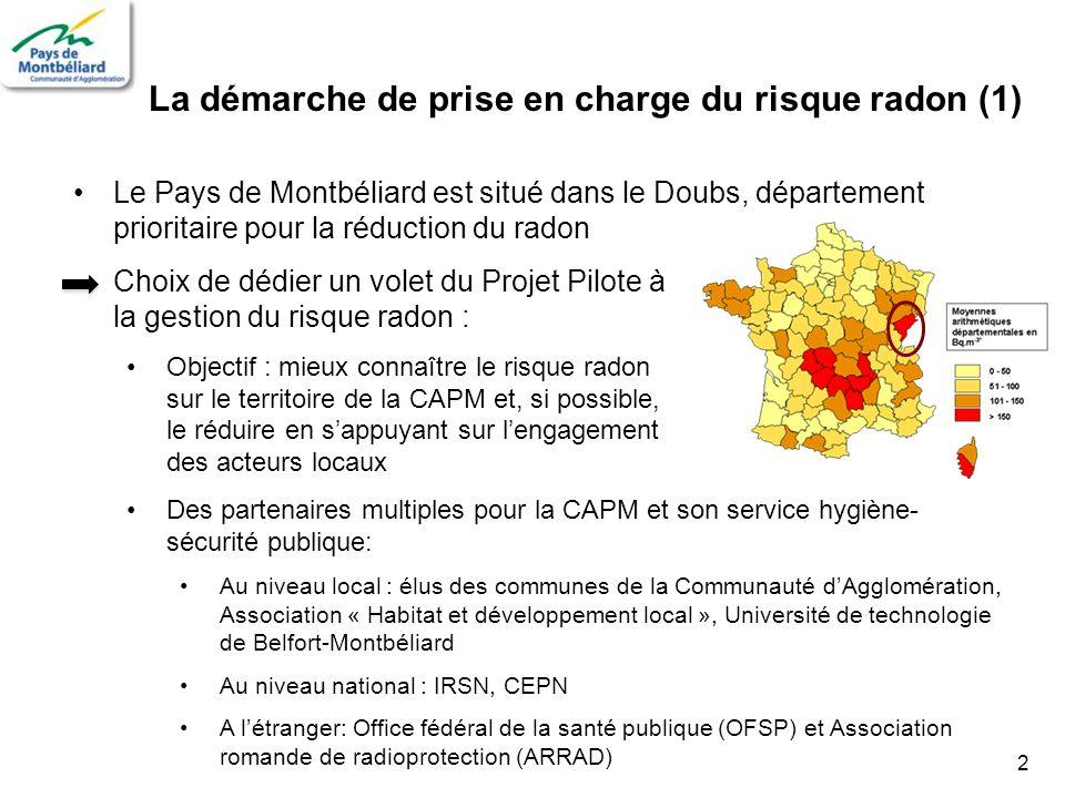 2 La démarche de prise en charge du risque radon (1) Le Pays de Montbéliard est situé dans le Doubs, département prioritaire pour la réduction du rado