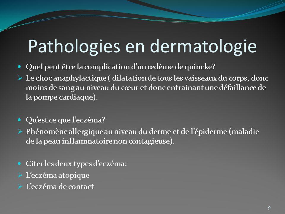 Pathologies en dermatologie Quel peut être la complication dun œdème de quincke? Le choc anaphylactique ( dilatation de tous les vaisseaux du corps, d