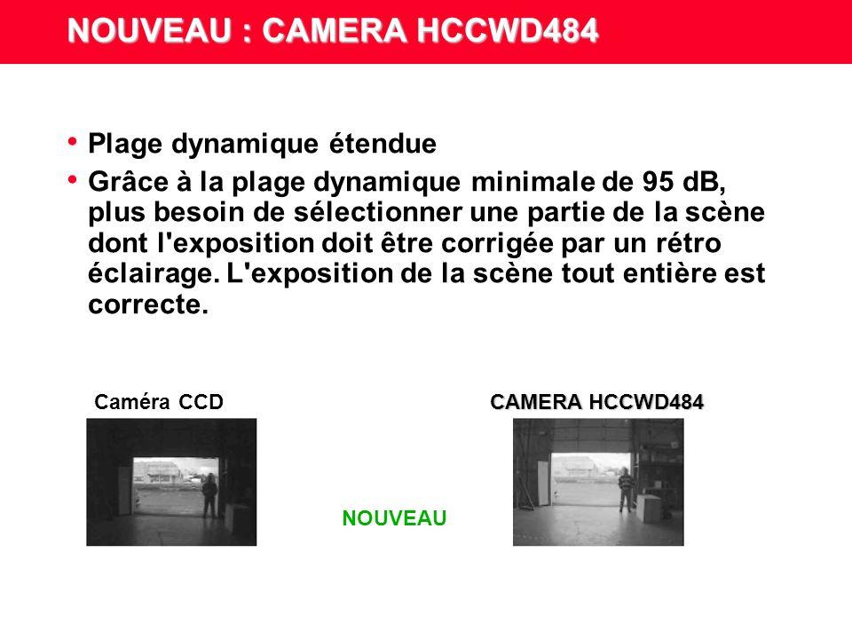 NOUVEAU : CAMERA HCCWD484 Fonctionnalités – Caméra numérique dynamique 1/3 pouce – Traitement numérique 14 bits – Exposition propre à chaque pixel – Plage dynamique : 95 dB (nominale) / 120 dB (max.) – - 100 à 200 fois supérieure à celle des caméras CCD conventionnelles – Fréquence d images supérieure – Capture vidéo progressive de - 50 à 60 images/s pour une définition précise des images dans toutes les conditions d éclairage – 0,4 lux @ F1,2 pour un rendu exact des couleurs dans des conditions de faible luminosité – 12 V CC ou 24 V CA avec verrouillage de ligne – Modes de gestion du diaphragme : DC, vidéo et manuel NOUVEAU