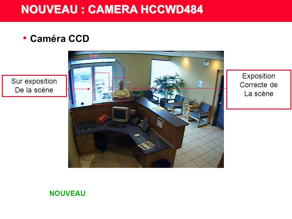NOUVEAU : CAMERA HCCWD484 Plage dynamique étendue Grâce à la plage dynamique minimale de 95 dB, plus besoin de sélectionner une partie de la scène dont l exposition doit être corrigée par un rétro éclairage.