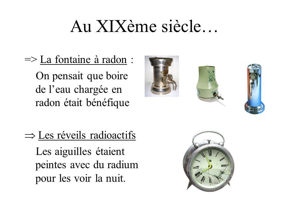 Au XIXème siècle… => La fontaine à radon : On pensait que boire de leau chargée en radon était bénéfique Les réveils radioactifs Les aiguilles étaient