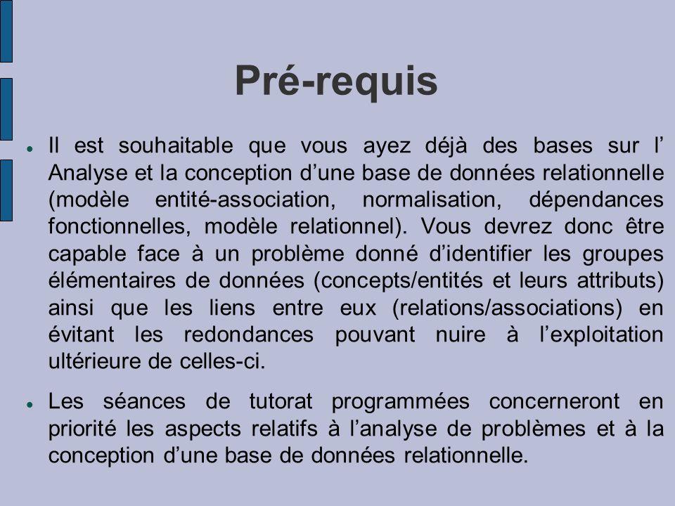 Pré-requis Il est souhaitable que vous ayez déjà des bases sur l Analyse et la conception dune base de données relationnelle (modèle entité-associatio
