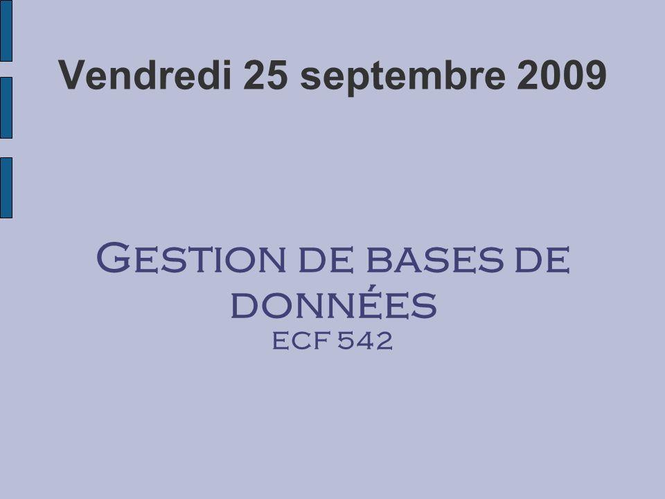 Vendredi 25 septembre 2009 Gestion de bases de données ECF 542
