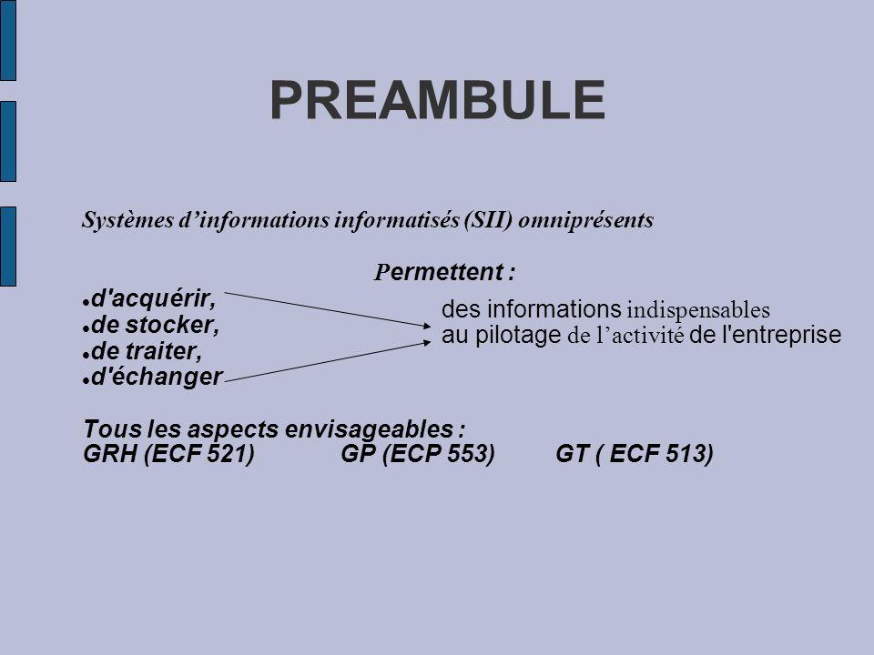 PREAMBULE Systèmes dinformations informatisés (SII) omniprésents P ermettent : d'acquérir, de stocker, de traiter, d'échanger Tous les aspects envisag
