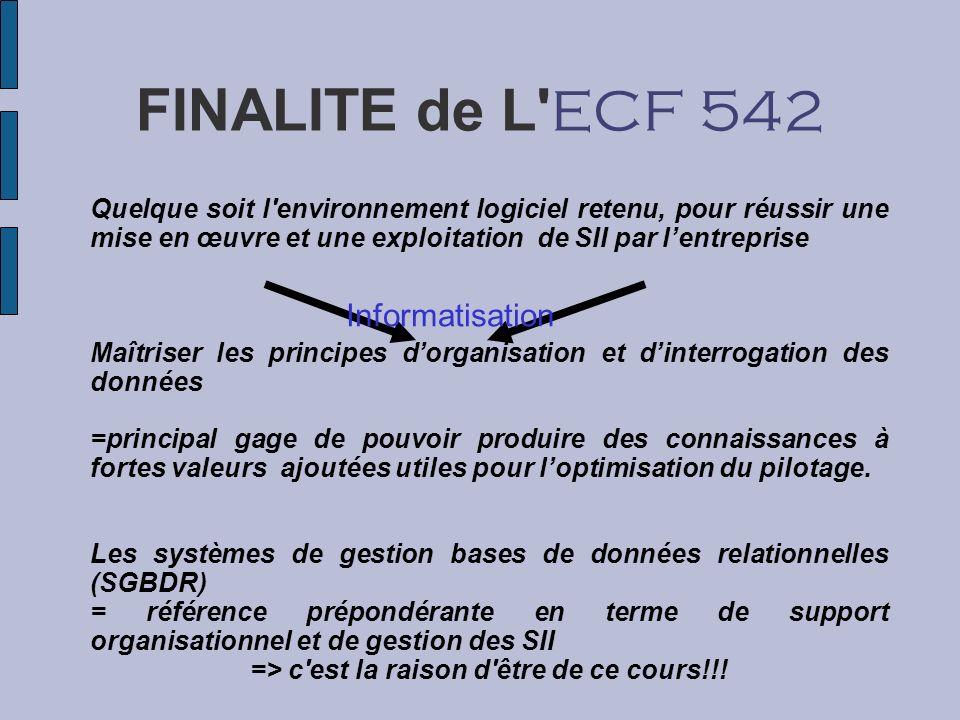 FINALITE de L' ECF 542 Quelque soit l'environnement logiciel retenu, pour réussir une mise en œuvre et une exploitation de SII par lentreprise Maîtris