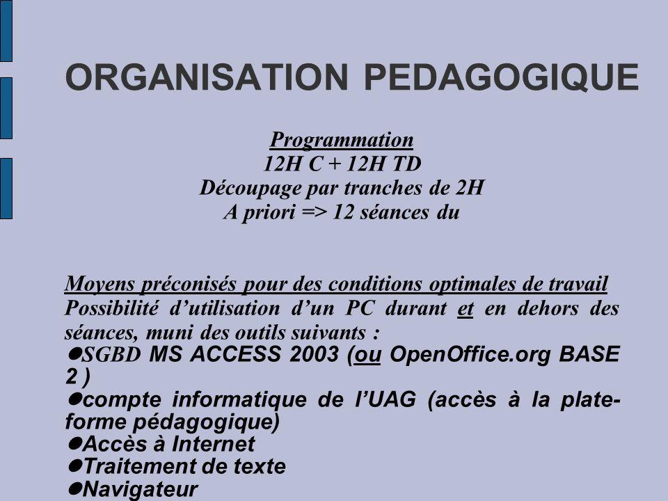 ORGANISATION PEDAGOGIQUE Programmation 12H C + 12H TD Découpage par tranches de 2H A priori => 12 séances du Moyens préconisés pour des conditions opt