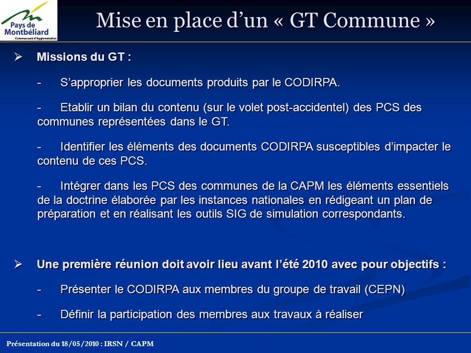 Mise en place dun « GT Commune » Présentation du 18/05/2010 : IRSN / CAPM Missions du GT : Missions du GT : -Sapproprier les documents produits par le CODIRPA.