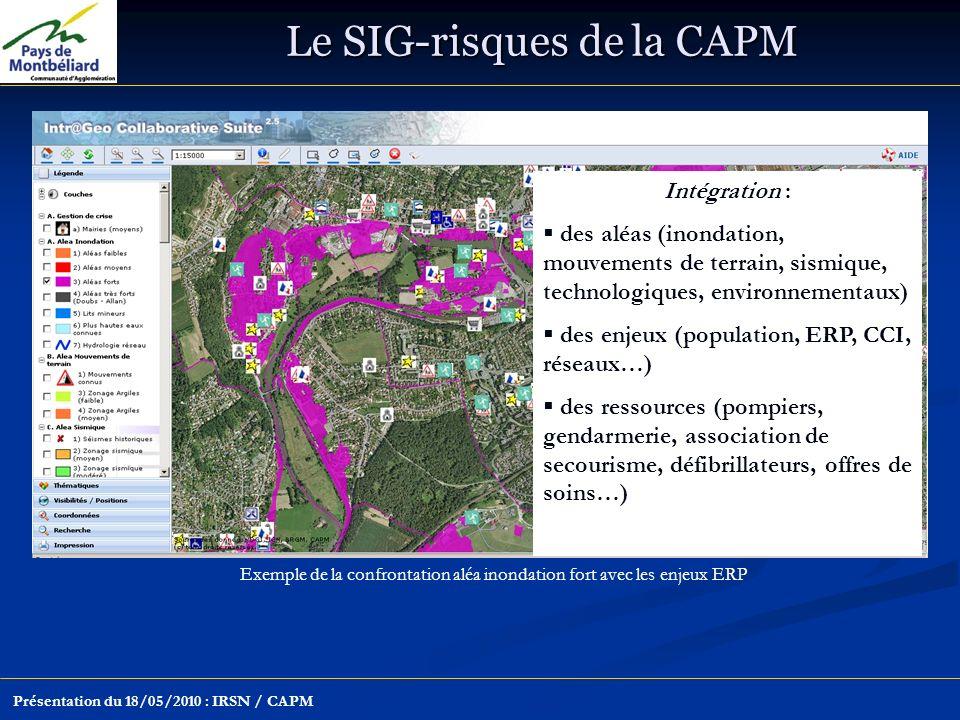 Le SIG-risques de la CAPM Présentation du 18/05/2010 : IRSN / CAPM Exemple de la confrontation aléa inondation fort avec les enjeux ERP Intégration : des aléas (inondation, mouvements de terrain, sismique, technologiques, environnementaux) des enjeux (population, ERP, CCI, réseaux…) des ressources (pompiers, gendarmerie, association de secourisme, défibrillateurs, offres de soins…)