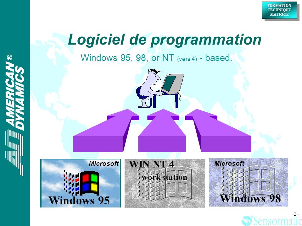 ® FORMATION TECHNIQUE MATRICE ® -2- Windows 95, 98, or NT (vers 4) - based. Windows 95 WIN NT 4 work station Microsoft Windows 98 Microsoft Logiciel d