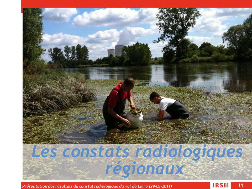 11 Présentation des résultats du constat radiologique du val de Loire (29-03-2011) Les constats radiologiques régionaux