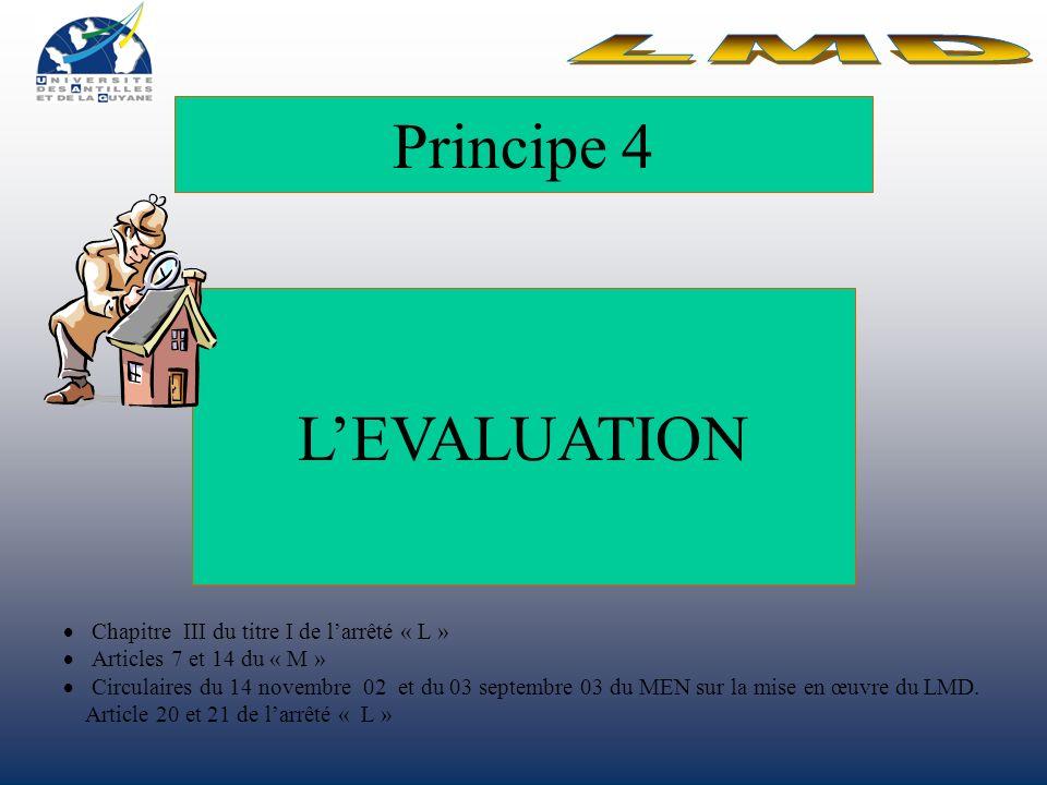 Principe 4 LEVALUATION Chapitre III du titre I de larrêté « L » Articles 7 et 14 du « M » Circulaires du 14 novembre 02 et du 03 septembre 03 du MEN sur la mise en œuvre du LMD.