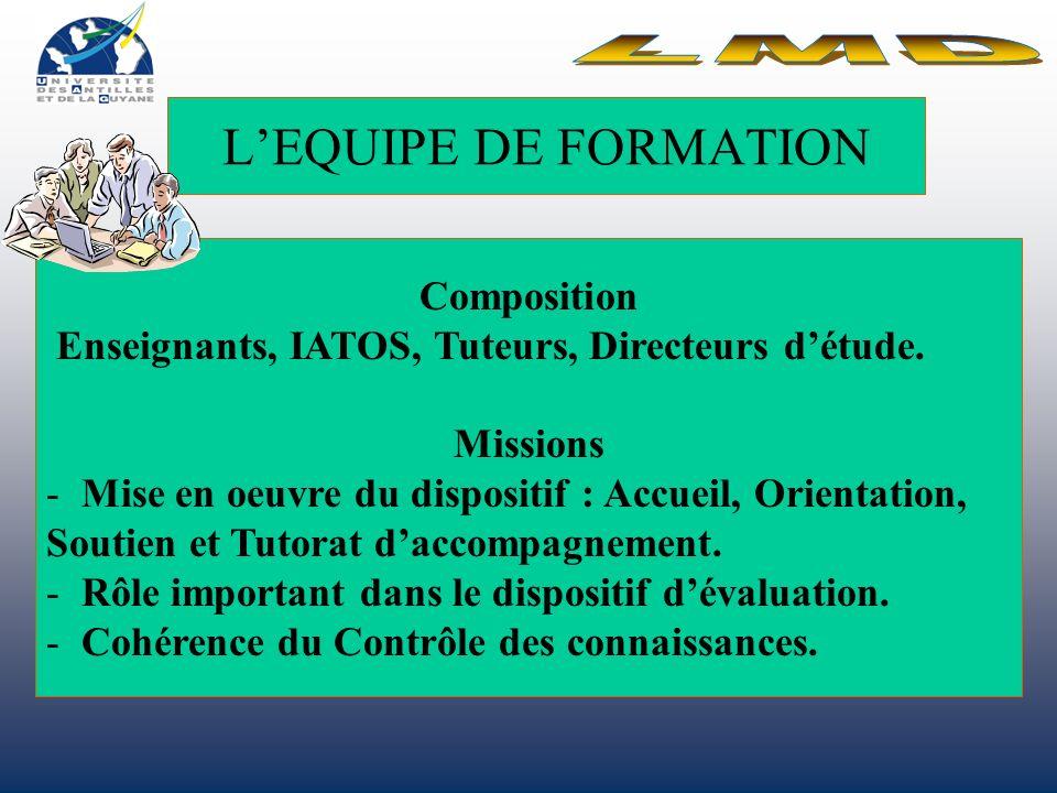 LEQUIPE DE FORMATION Composition Enseignants, IATOS, Tuteurs, Directeurs détude.