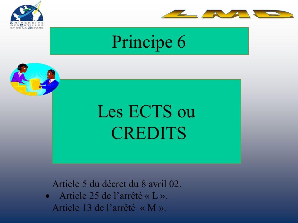 Principe 6 Les ECTS ou CREDITS Article 5 du décret du 8 avril 02.