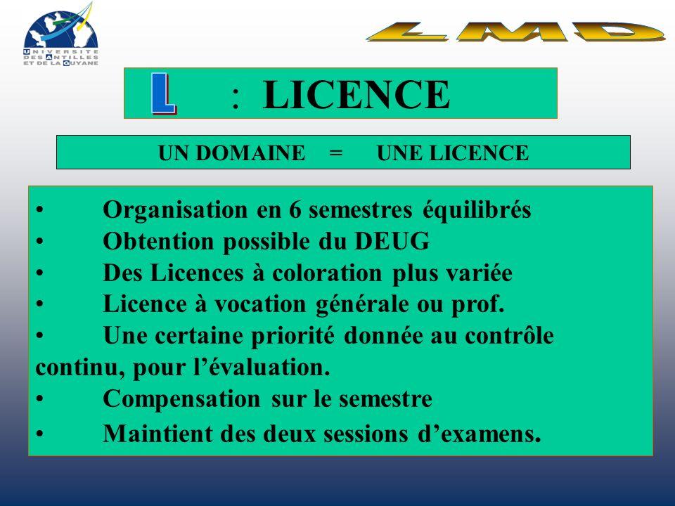 : LICENCE Organisation en 6 semestres équilibrés Obtention possible du DEUG Des Licences à coloration plus variée Licence à vocation générale ou prof.