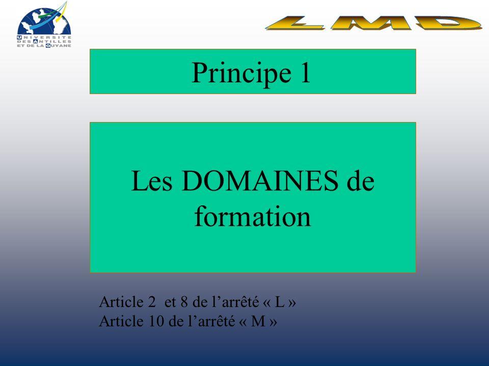 Principe 1 Les DOMAINES de formation Article 2 et 8 de larrêté « L » Article 10 de larrêté « M »