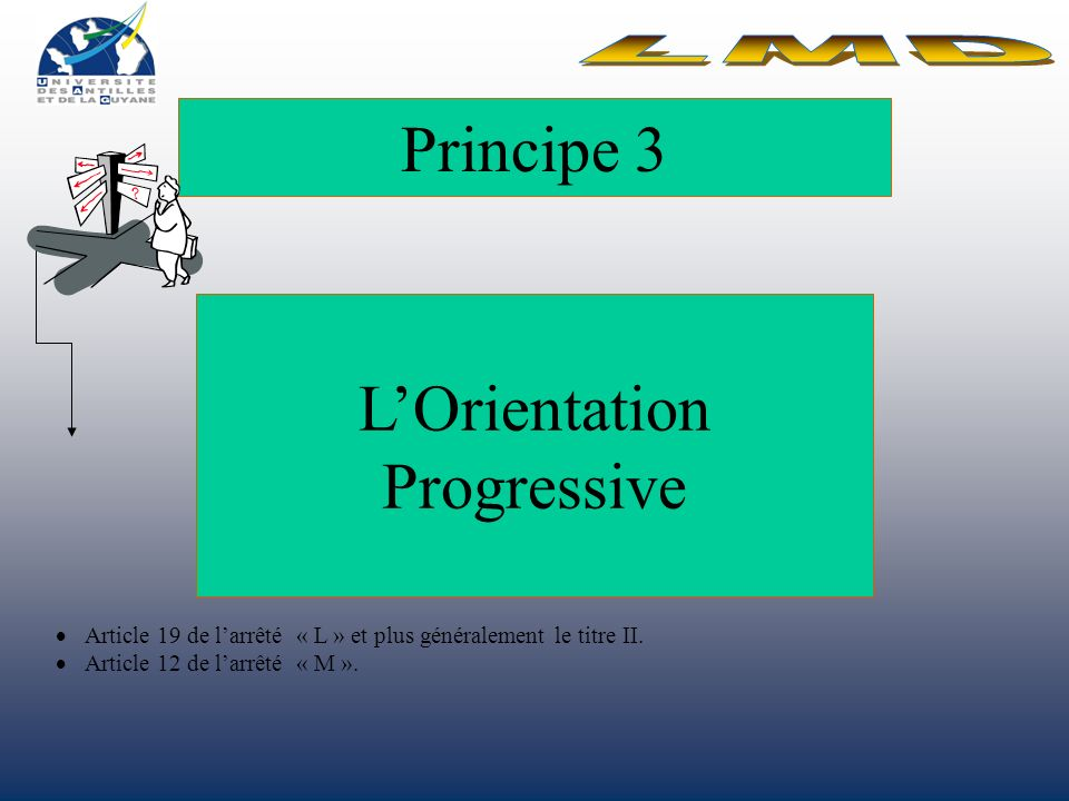 Principe 3 LOrientation Progressive Article 19 de larrêté « L » et plus généralement le titre II.