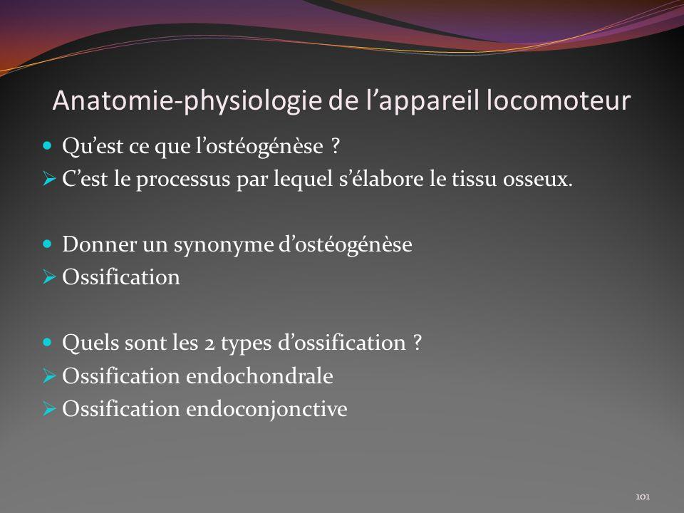 Anatomie-physiologie de lappareil locomoteur Quest ce que lostéogénèse ? Cest le processus par lequel sélabore le tissu osseux. Donner un synonyme dos