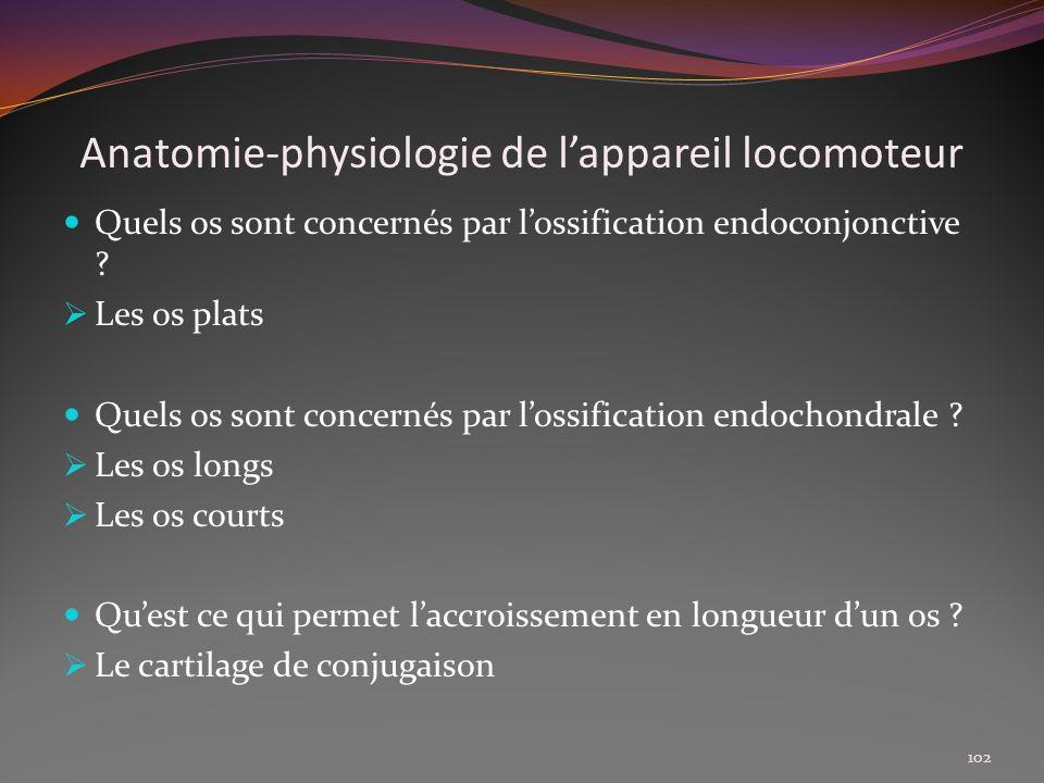 Anatomie-physiologie de lappareil locomoteur Quels os sont concernés par lossification endoconjonctive ? Les os plats Quels os sont concernés par loss