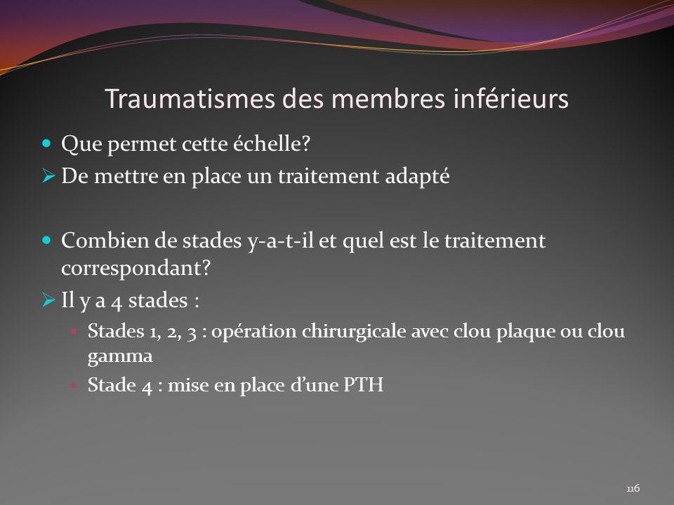 Traumatismes des membres inférieurs Que permet cette échelle? De mettre en place un traitement adapté Combien de stades y-a-t-il et quel est le traite