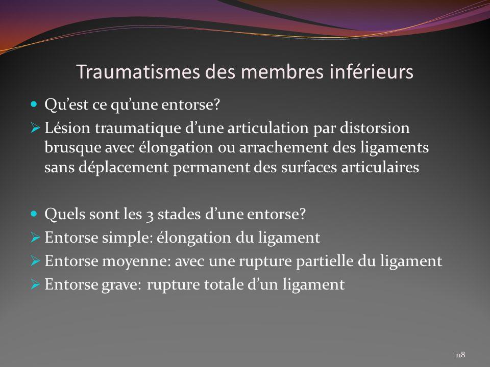 Traumatismes des membres inférieurs Quest ce quune entorse? Lésion traumatique dune articulation par distorsion brusque avec élongation ou arrachement