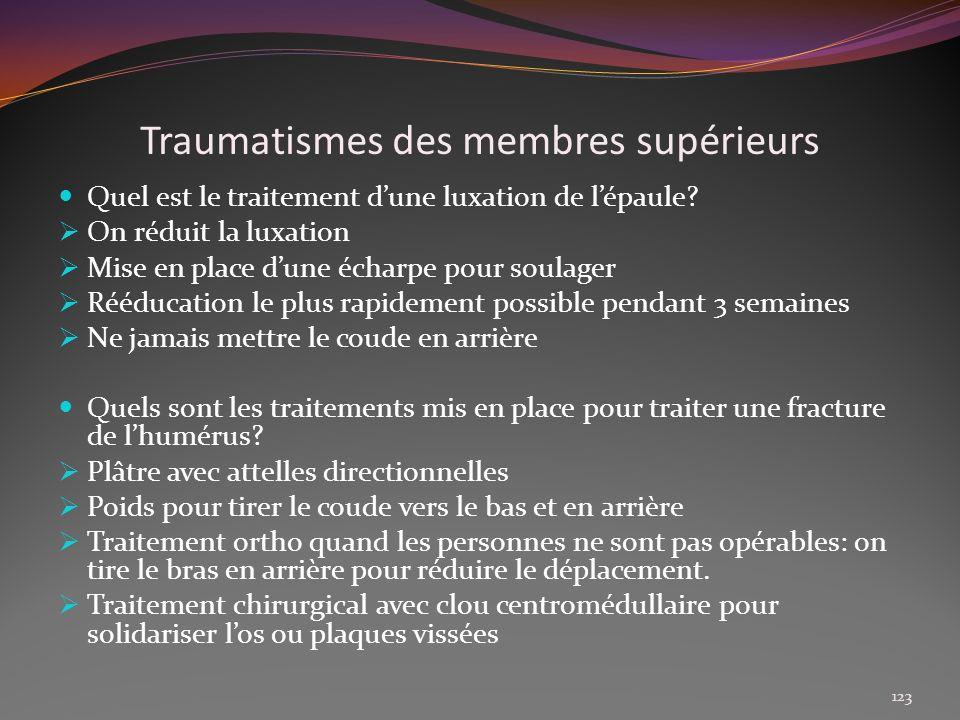 Traumatismes des membres supérieurs Quel est le traitement dune luxation de lépaule? On réduit la luxation Mise en place dune écharpe pour soulager Ré