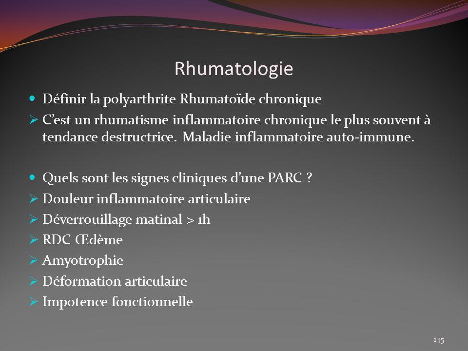 Rhumatologie Définir la polyarthrite Rhumatoïde chronique Cest un rhumatisme inflammatoire chronique le plus souvent à tendance destructrice. Maladie