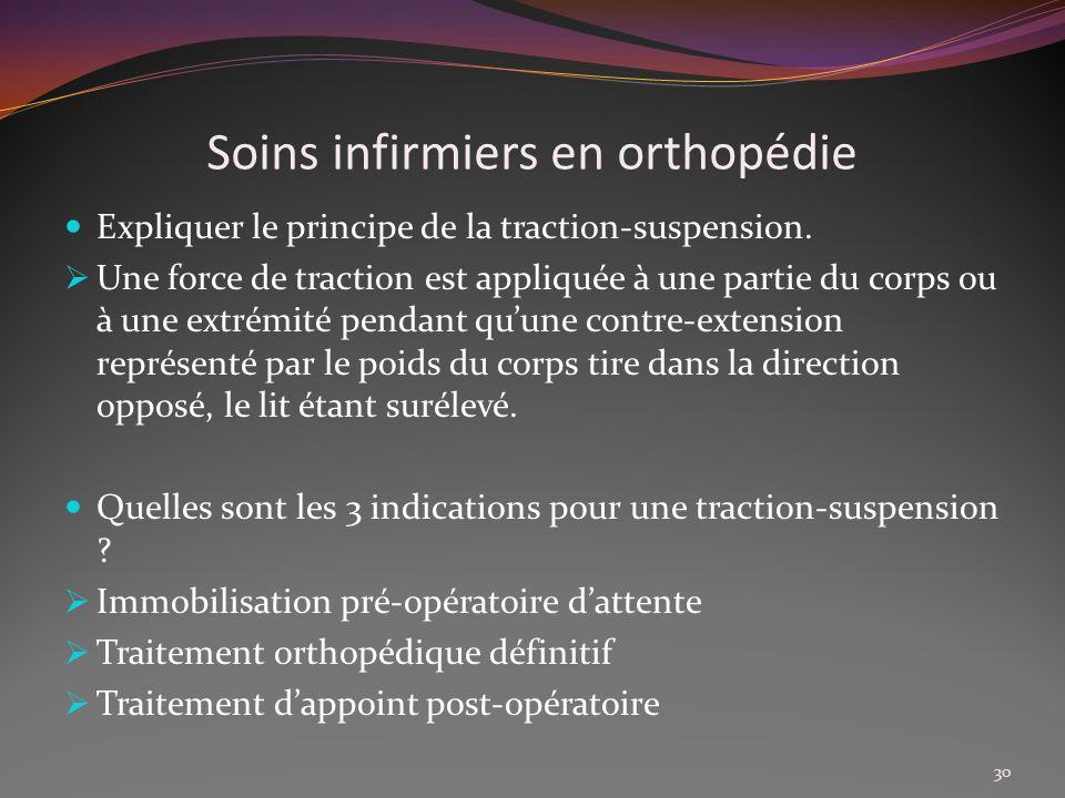 Soins infirmiers en orthopédie Expliquer le principe de la traction-suspension. Une force de traction est appliquée à une partie du corps ou à une ext