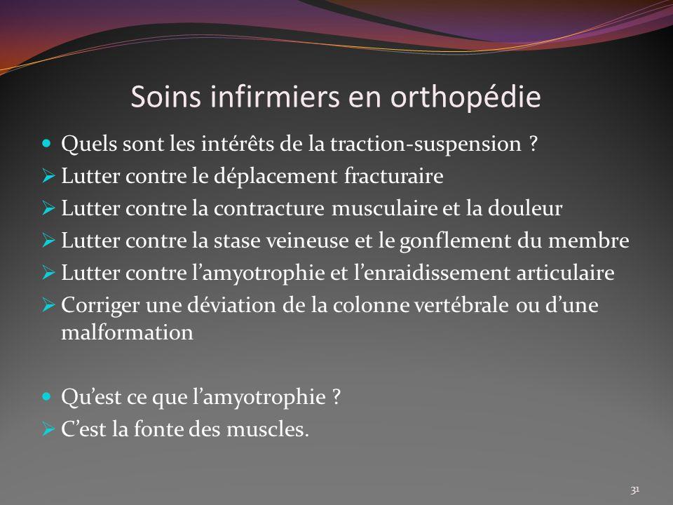 Soins infirmiers en orthopédie Quels sont les intérêts de la traction-suspension ? Lutter contre le déplacement fracturaire Lutter contre la contractu