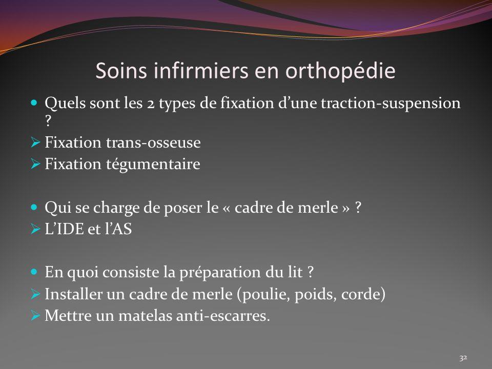 Soins infirmiers en orthopédie Quels sont les 2 types de fixation dune traction-suspension ? Fixation trans-osseuse Fixation tégumentaire Qui se charg