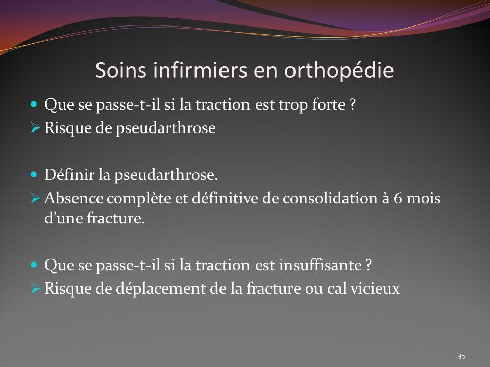 Soins infirmiers en orthopédie Que se passe-t-il si la traction est trop forte ? Risque de pseudarthrose Définir la pseudarthrose. Absence complète et