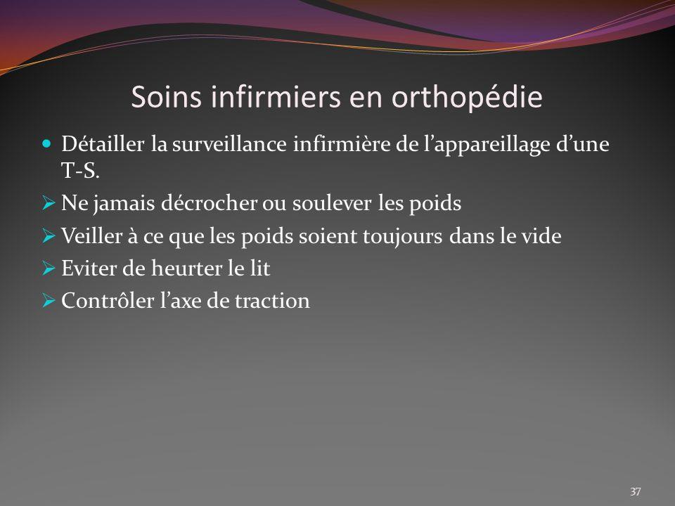 Soins infirmiers en orthopédie Détailler la surveillance infirmière de lappareillage dune T-S. Ne jamais décrocher ou soulever les poids Veiller à ce