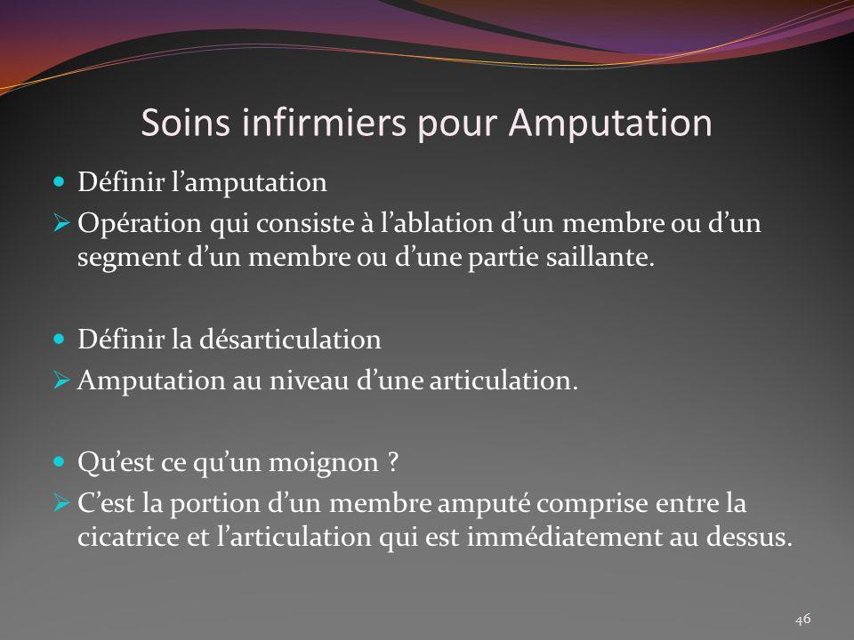 Soins infirmiers pour Amputation Définir lamputation Opération qui consiste à lablation dun membre ou dun segment dun membre ou dune partie saillante.