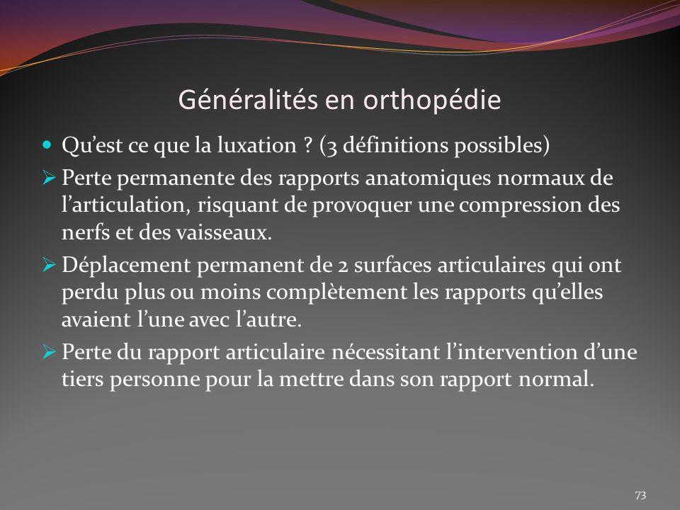 Généralités en orthopédie Quest ce que la luxation ? (3 définitions possibles) Perte permanente des rapports anatomiques normaux de larticulation, ris