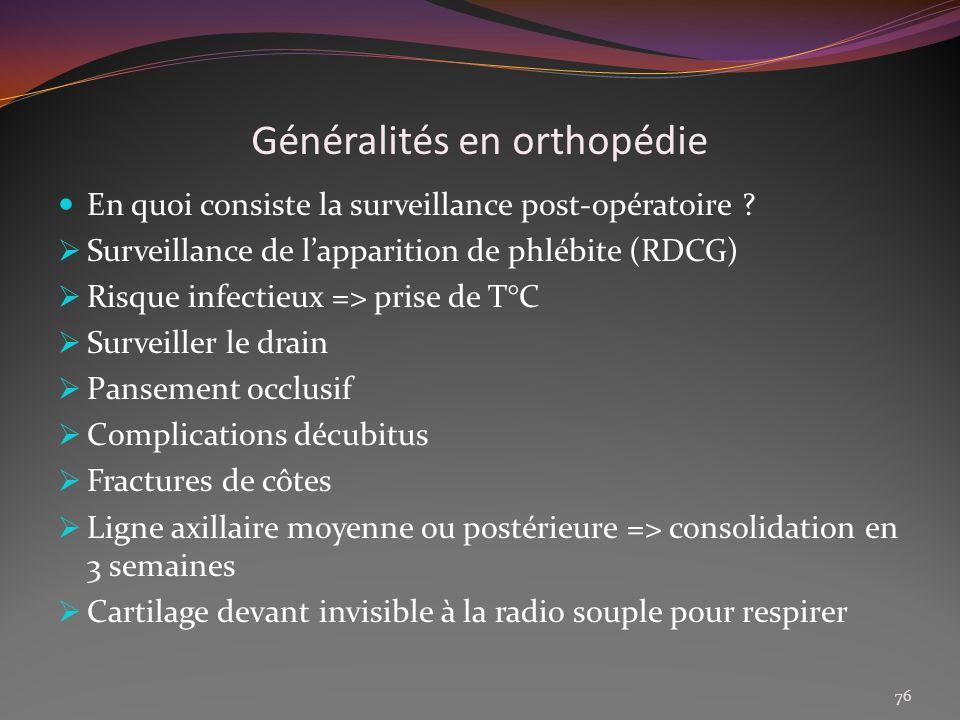Généralités en orthopédie En quoi consiste la surveillance post-opératoire ? Surveillance de lapparition de phlébite (RDCG) Risque infectieux => prise
