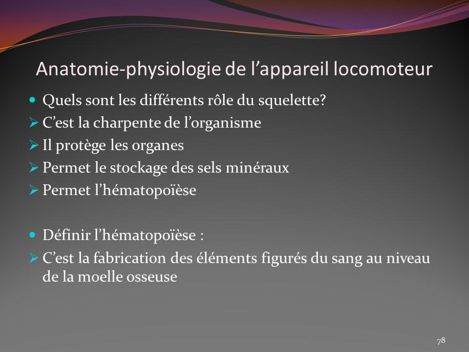 Anatomie-physiologie de lappareil locomoteur Quels sont les différents rôle du squelette? Cest la charpente de lorganisme Il protège les organes Perme