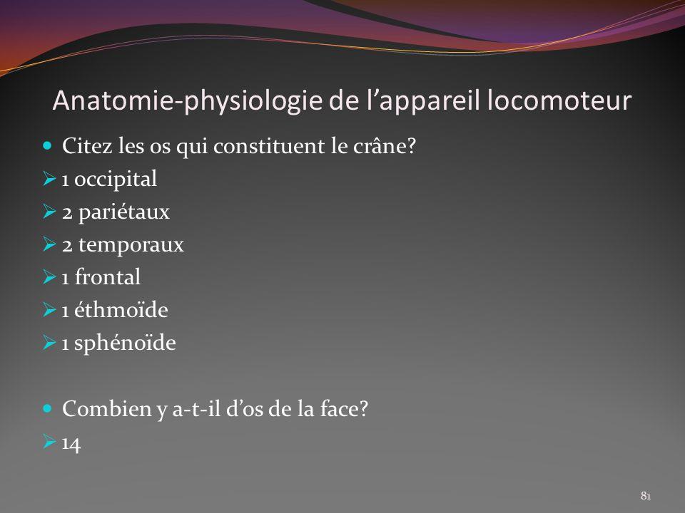 Anatomie-physiologie de lappareil locomoteur Citez les os qui constituent le crâne? 1 occipital 2 pariétaux 2 temporaux 1 frontal 1 éthmoïde 1 sphénoï
