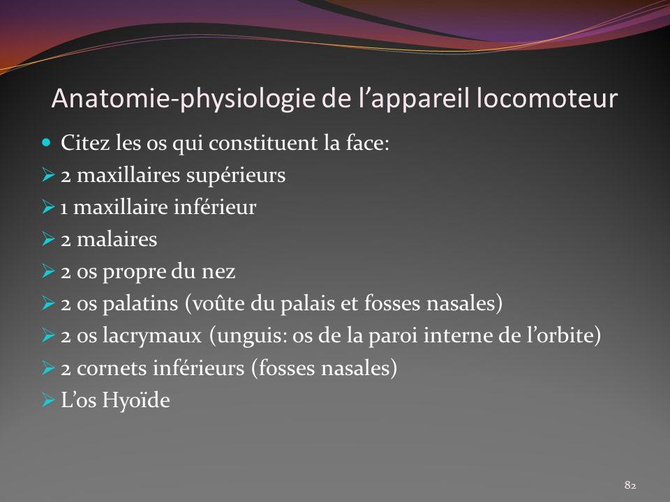 Anatomie-physiologie de lappareil locomoteur Citez les os qui constituent la face: 2 maxillaires supérieurs 1 maxillaire inférieur 2 malaires 2 os pro