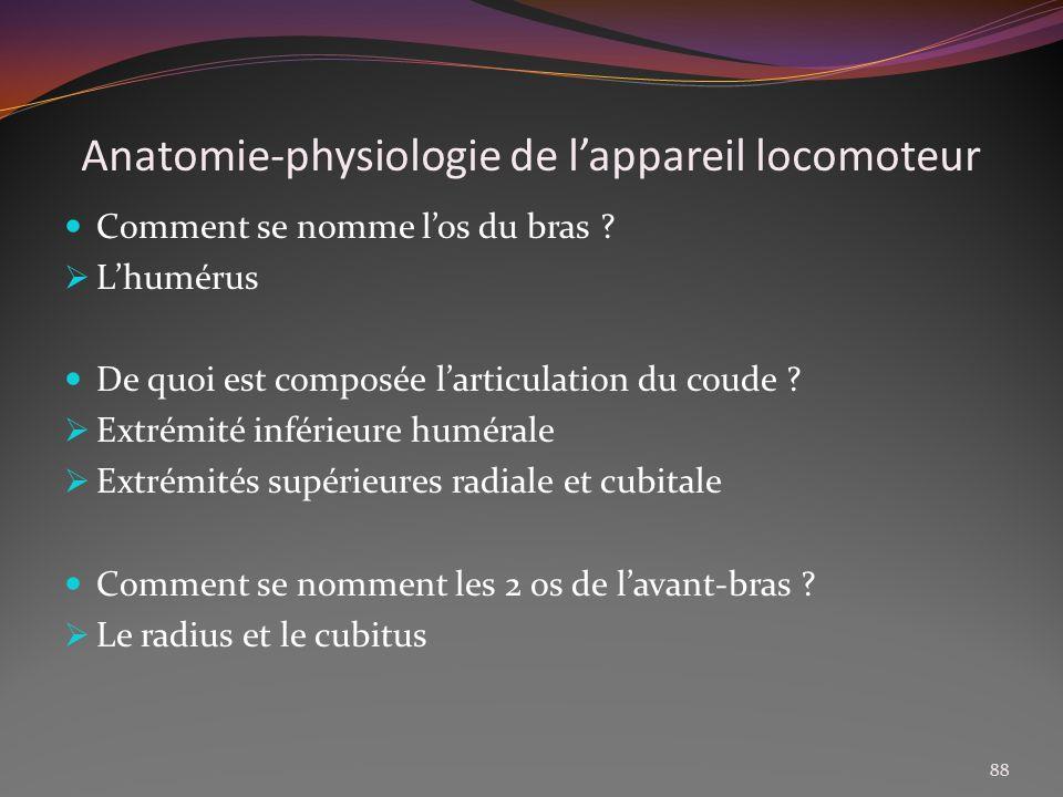 Anatomie-physiologie de lappareil locomoteur Comment se nomme los du bras ? Lhumérus De quoi est composée larticulation du coude ? Extrémité inférieur