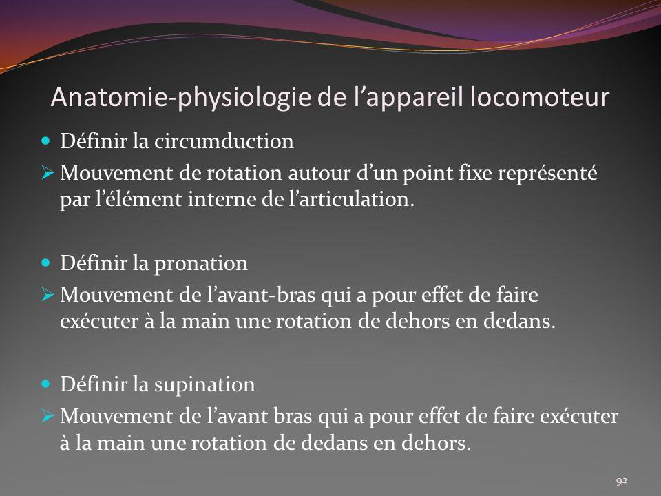 Anatomie-physiologie de lappareil locomoteur Définir la circumduction Mouvement de rotation autour dun point fixe représenté par lélément interne de l