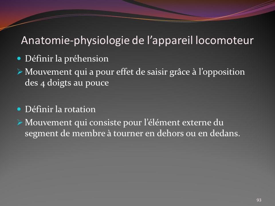 Anatomie-physiologie de lappareil locomoteur Définir la préhension Mouvement qui a pour effet de saisir grâce à lopposition des 4 doigts au pouce Défi