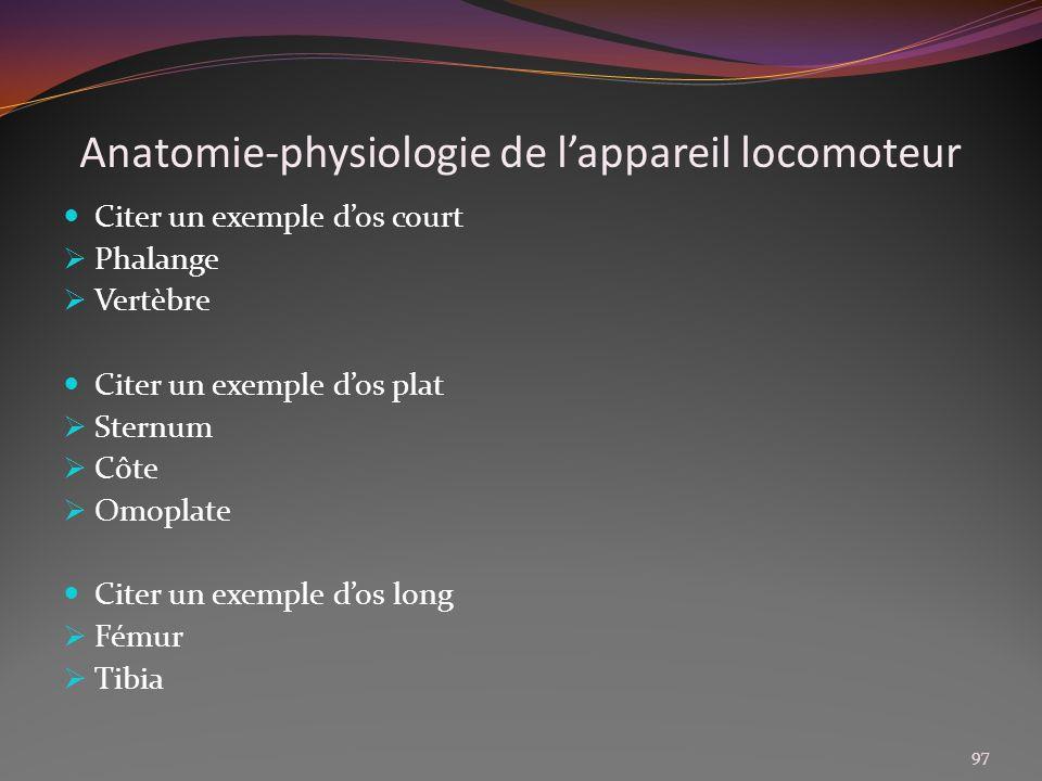 Anatomie-physiologie de lappareil locomoteur Citer un exemple dos court Phalange Vertèbre Citer un exemple dos plat Sternum Côte Omoplate Citer un exe