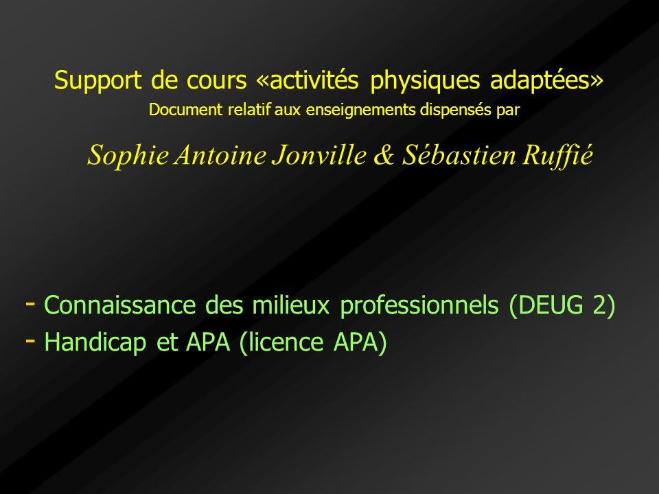 Support de cours «activités physiques adaptées» Document relatif aux enseignements dispensés par Sophie Antoine Jonville & Sébastien Ruffié - - Connai