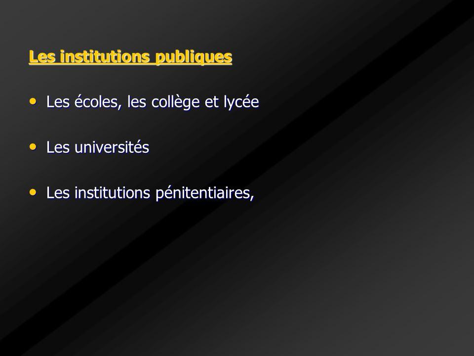 Les institutions publiques Les écoles, les collège et lycée Les écoles, les collège et lycée Les universités Les universités Les institutions pénitent