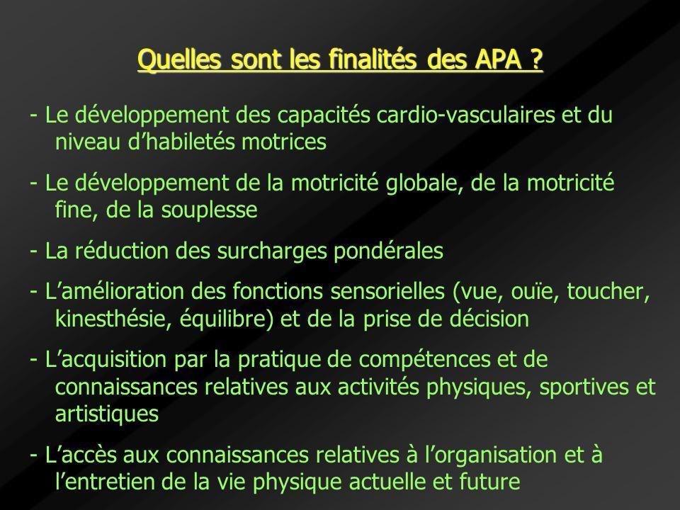 Quelles sont les finalités des APA ? - Le développement des capacités cardio-vasculaires et du niveau dhabiletés motrices - Le développement de la mot