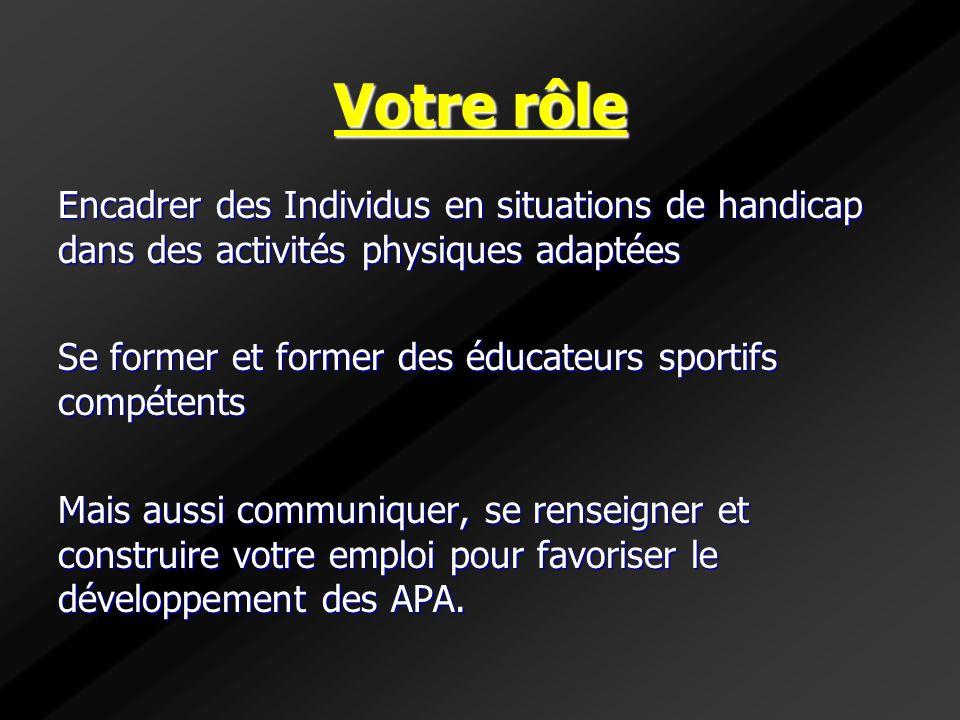 Votre rôle Encadrer des Individus en situations de handicap dans des activités physiques adaptées Se former et former des éducateurs sportifs compéten